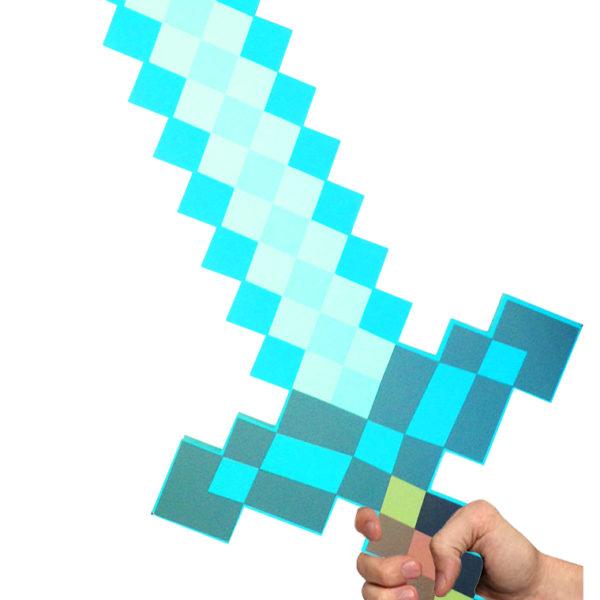 Espada Minecraft De Espuma Version Diamante Turquesa